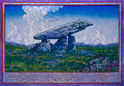 Jim Fitzpatrick Posters - Irish Landscape Celtic Art - The Kilclooney Dolmen Poster by Jim FitzPatrick