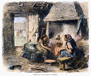 Kerchief Prints - Irish Peasant Cabin, 1870 Print by Granger