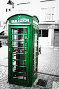 Telecommunication Prints - Irish Phone Booth in  Kinsale Print by George Oze
