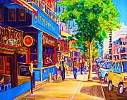 Montreal Streetscenes Painting Prints - Irish Pub on Crescent Street Print by Carole Spandau