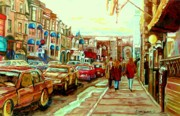 Montreal Streetscenes Painting Prints - Irish Pubs And Bistros Downtown Montreal Print by Carole Spandau