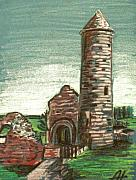 Round Pastels Posters - Irish Round tower Poster by Alan Hogan