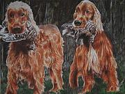 Setters Framed Prints - Irish Setters Framed Print by Darcie Duranceau