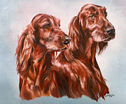 Setters Framed Prints - Irish Setters Framed Print by Gail Dolphin
