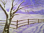 Snowy Night Paintings - Irish silence by Irina Astley