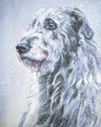 Sighthound Framed Prints - Irish Wolfhound in snow Framed Print by Lee Ann Shepard