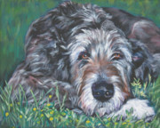 Wildflowers  Painting Prints - Irish wolfhound Print by Lee Ann Shepard