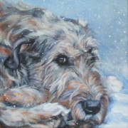 Snow Painting Prints - Irish Wolfhound resting Print by Lee Ann Shepard
