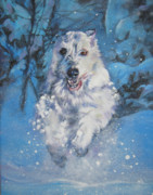 Sighthound Art - Irish Wolfhound winter run by Lee Ann Shepard