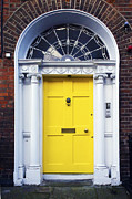 Hinged Framed Prints - Irish Yellow Door Framed Print by Jeff Stein