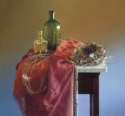 Table Cloth Pastels Metal Prints - Irmas Nest Metal Print by Barbara Groff