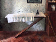 Ironing Board Framed Prints - Iron Board and Iron Framed Print by Susan Savad
