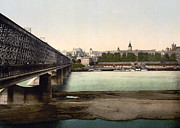 Iron Bridge Prints - Iron Bridge in Warsaw Poland - ca 1900 Print by International  Images