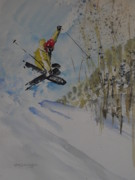 Skiing Action Painting Originals - Iron Cross at Beaver Creek by Sandra Strohschein