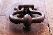 Protection Posters - Iron Door Knocker On Wooden Door Poster by Gil Guelfucci