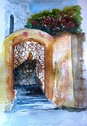 Alleyway Paintings - Iron door with bougainvillea by Therese Alcorn