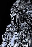 Apache Glass Art Framed Prints - Iron Eyes Cody Framed Print by Jim Ross