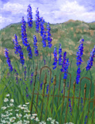 Flowers Pastels - Iron Fence and Delphiniums by Ginny Neece