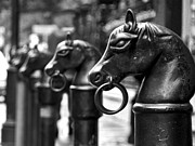 Equine Sculpture Photo Prints - Iron Horse Heads Print by Jeff Stein