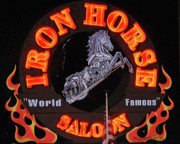 Yellow Black White Silver Prints - Iron Horse Saloon in Neon Print by DigiArt Diaries by Vicky Browning