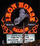 Yellow Black White Silver Prints - Iron Horse Saloon Sign at Night Print by DigiArt Diaries by Vicky Browning