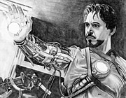 Iron Drawings Posters - Iron Man Poster by Gil Fong