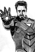 Iron  Drawings Prints - Iron Man Print by Ralph Harlow