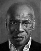 Boxer Drawings Posters - Iron Mike Tyson drawing Poster by John Harding