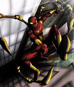 Spiderman Digital Art Prints - Iron Spider  Print by Darlene Wanglund