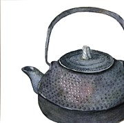 Teapot Painting Originals - Iron Teapot by Barbara Daugherty