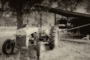 Antique Tractor Posters - Iron Workhorse in Sepia Poster by Tony Grider