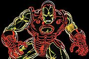 Neon Prints - Ironman Print by DB Artist