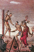 Five Nations Prints - Iroquois Prisoner Being Tortured Print by Photo Researchers