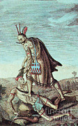 League Framed Prints - Iroquois Warrior Scalping Enemy, 1814 Framed Print by Photo Researchers