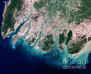 River Delta Framed Prints - Irrawaddy River Delta Framed Print by Nasa
