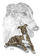 Swan Drawings Posters - Irresistible - Greyhound Dog Print color tinted Poster by Kelli Swan