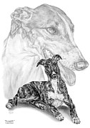 Swan Drawings Posters - Irresistible - Greyhound Dog Print Poster by Kelli Swan