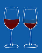 Wine Art Metal Prints - Is the glass half empty or half full Metal Print by Frank Tschakert