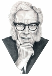 Celebrity Portrait Drawings - Isaac Asimov by Murphy Elliott