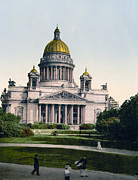 Isaac Framed Prints - Isaac Cathedral from Alexanders Garden in St. Petersburg Russia Framed Print by International  Images
