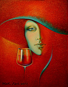 Wine Art Framed Prints Originals - Isabella. by Elena  Makarova-Levina