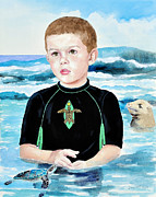 Baby Sea Turtle Paintings - Isaiah Son of Neptune by Kathryn Donatelli
