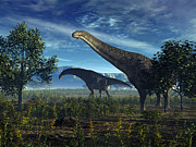 Earth Digital Art - Isisaurus Dinosaurs Wander Lush Plains by Walter Myers