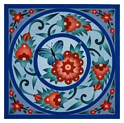 Square Art Drawings - Islamic Ornamental Tile Painted in Gouache by Evelyn Sichrovsky