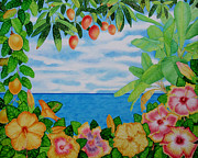 Passion Fruit Painting Prints - Island Hibiscus Print by Joel Carlson
