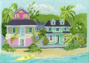 Bahamas Landscape Paintings - Island Houses by Florence Bramley Hill