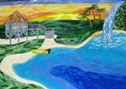 Waterfall Glass Art - Island In The Sun by Charles McDonell