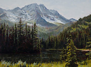 Mountains Painting Posters - Island Lake Poster by Mary Giacomini