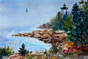Maine Shore Painting Prints - Island Light Print by Laura Tasheiko
