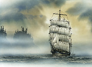 Tall Ship Painting Prints - Island Mist Print by James Williamson